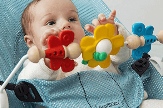 Baby Playing with Babybjorn Bouncer Toy Bar