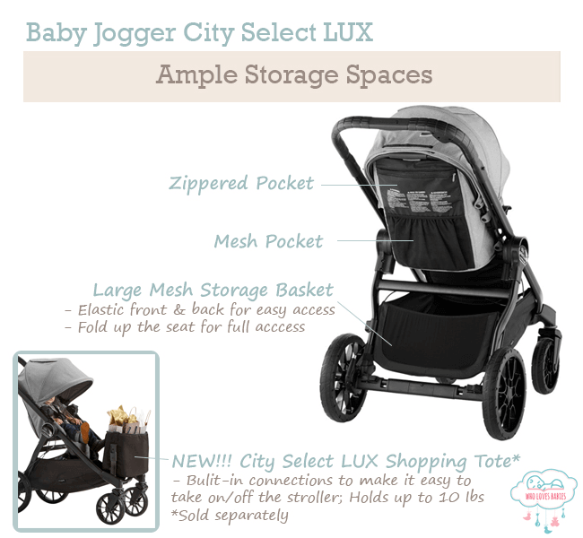 Ample Storage Space on the Baby Jogger City Select LUX