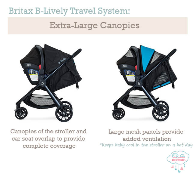b lively travel system extra large canopies